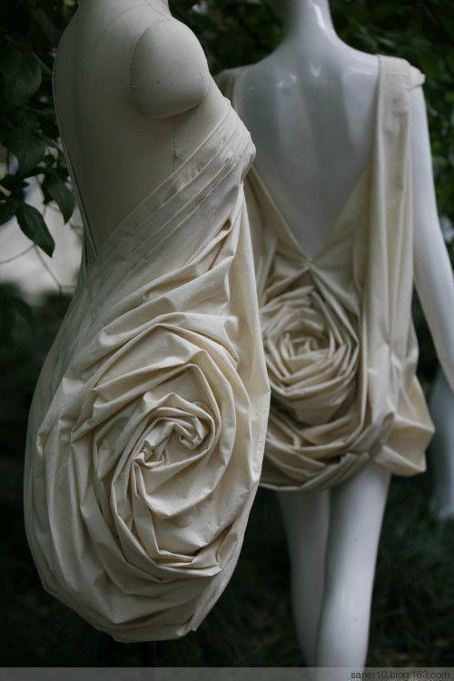 3D Textiles - fabric manipulation for fashion design; sculptural rose textured dress