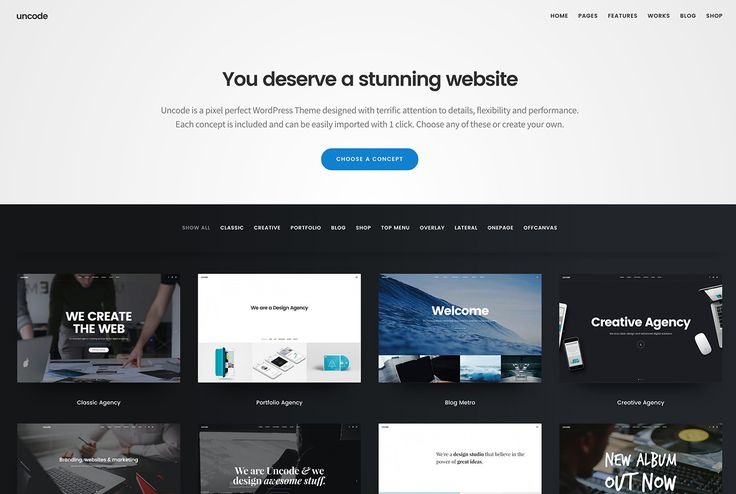 Uncode is a pixel perfect creative multiuse Wordpress Theme designed with terrific attention to details and performances.