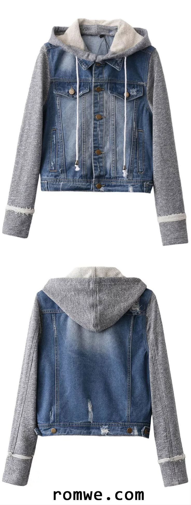 Fall Chic - SAVE 60% OFF ON FIRST ORDER - Blue Contrast Sleeve Drawstring Hooded Denim Jacket