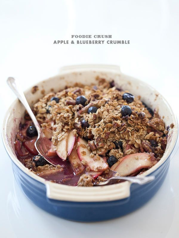 Apple and Blueberry Crumble with Pecans from foodiecrush.com #dessert #crisp #crumble #recipe