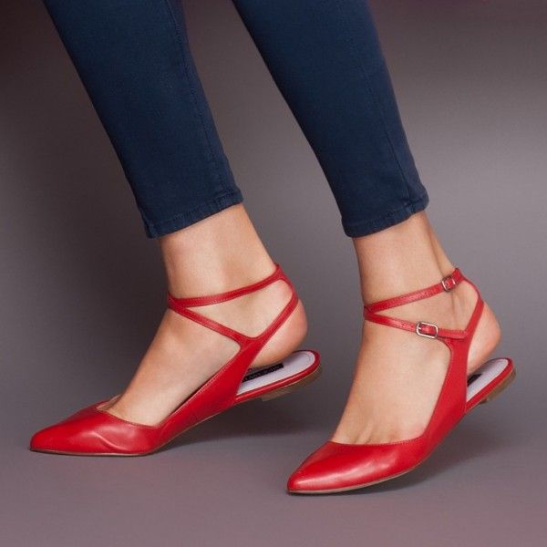 Women's Red Flats Ankle Strap Pointed Toe Slingback Shoes image 1