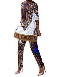 New Lovaru Women's Fashion 3/4 Sleeve Casual African Dashiki Shirt and Pants Set Outfit online. Find the perfect Zoey's Attic Tops-Tees from top store. Sku ESZI17738LVXX73642