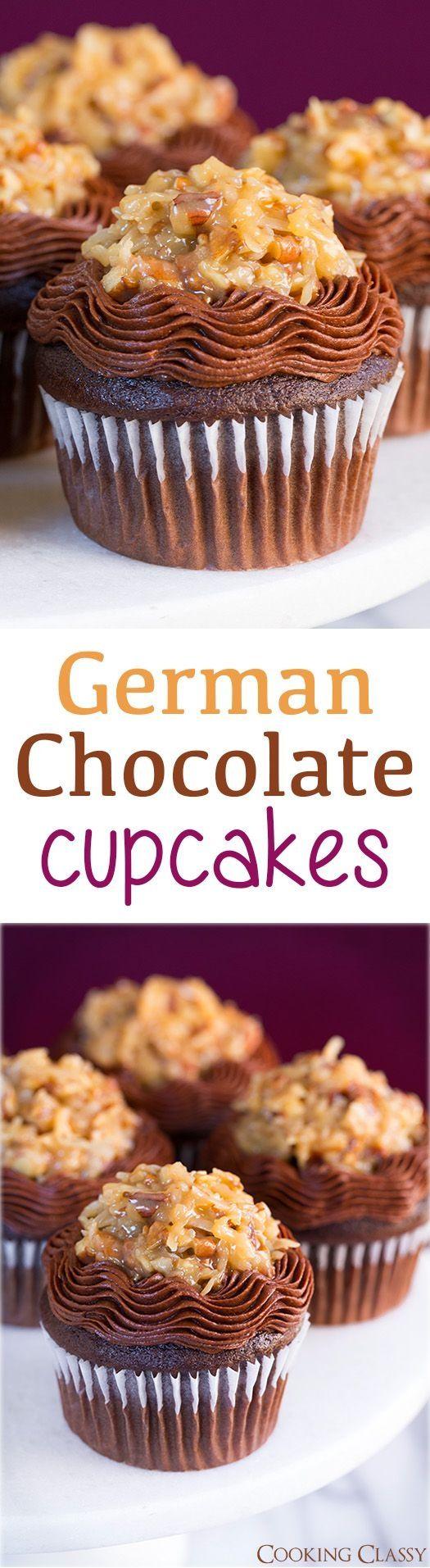 German Chocolate Cupcakes   #chocolate #cupcakes #German