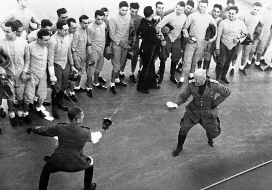 Benito Mussolini Fences with a Fascist Militia Officer in Rome