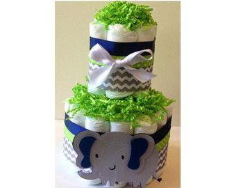2 tier diaper cake, Elephant diaper cake, Navy and lime Green diaper cake, chevron diaper cake, jungle diaper cake, boy baby shower deocr
