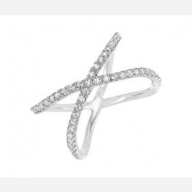 925 Sterling Silver with White Crystal Kiss Romantic Women's Ring