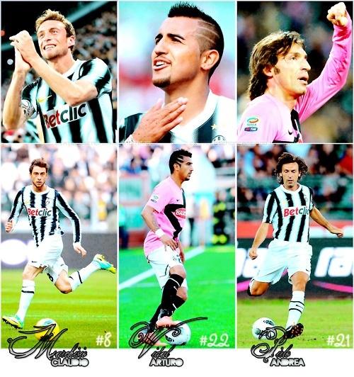 Andrea Pirlo Claudio Marchisio and Arturo Vidal #JuventusFC