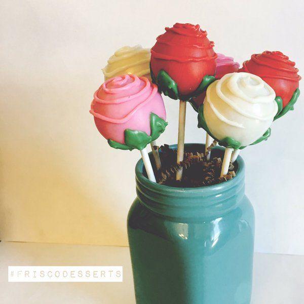 cake pop flower bouquet #cakeballs #cakepops #ediblegifts #roses #friscodesserts