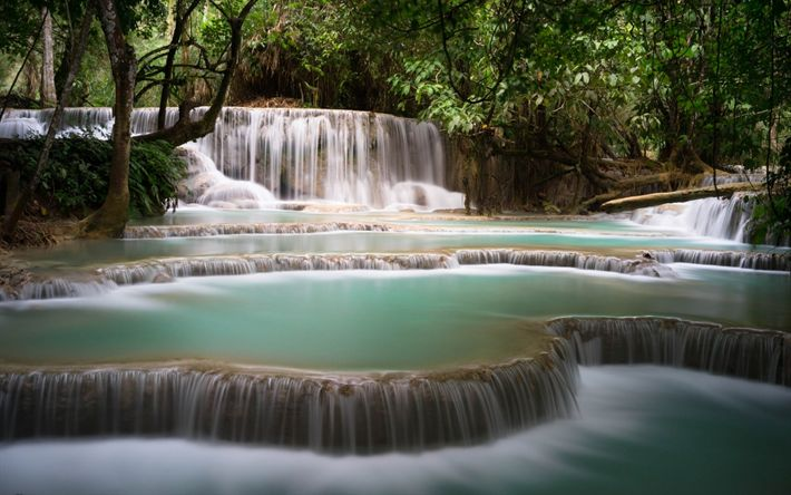 Download wallpapers tropical forest, Thailand, waterfalls, cascades, lake