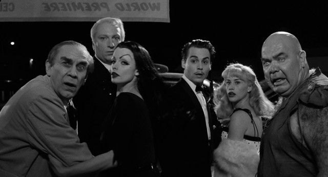 """Ed Wood (Johnny Depp), his date (Patricia Arquette), and his eccentric cast (Martin Landau, Jeffrey Jones, Lisa Marie, and George """"The Animal"""" Steele) are chased out of the """"Bride of the Monster"""" world premiere by a hostile audience. -- Ed Wood Blu-ray Review"""