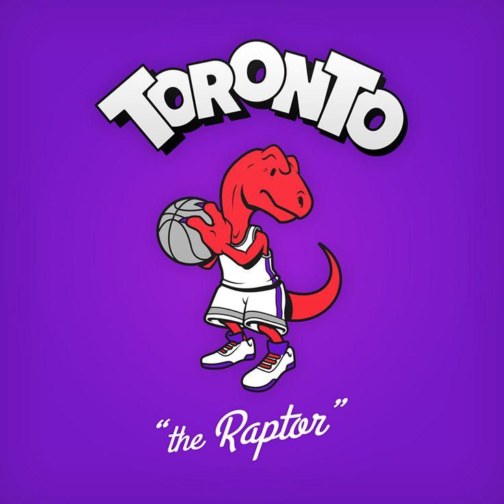 "Toronto ""the Raptor"" design de logo NBA en personnages de dessin animés"
