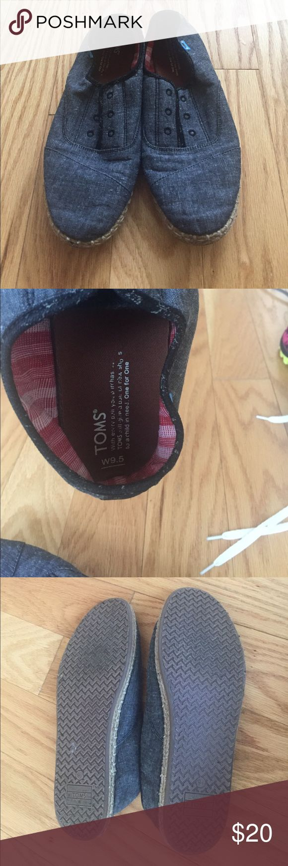 Toms slip on sneakers Linen slip on with jute border. Blue/ denim look but is linen material. Extremely comfortable. Barely worn. TOMS Shoes Sneakers