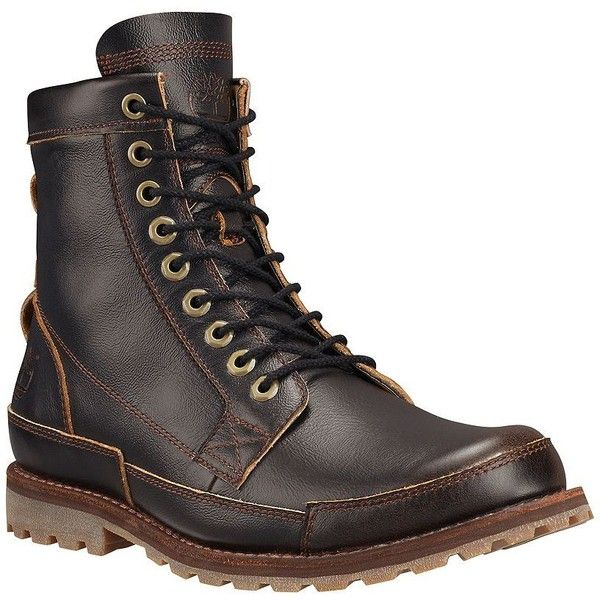 Timberland Earthkeepers Originals Full-Grain Leather Boots ($104) ❤ liked on Polyvore featuring men's fashion, men's shoes, men's boots, wheat, mens lace up boots, mens lace up shoes, timberland mens shoes and timberland mens boots