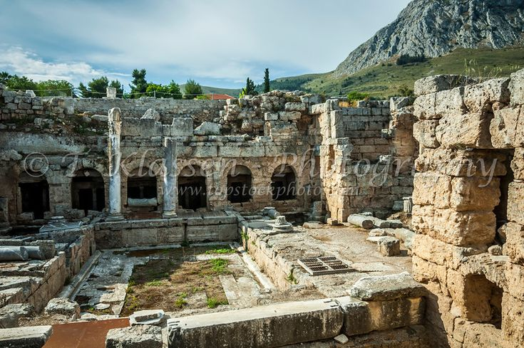 The ruins of the old Roman Fountain in the ancient city of Corinth in Corinth, Greece 2008
