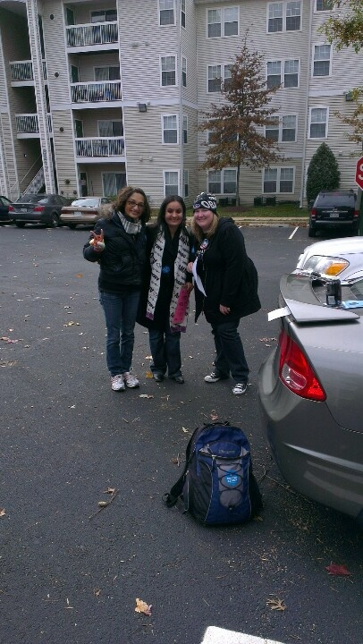 The four canvassing-musketeers. The bagpack is stand-in for the photographer. What a great day!