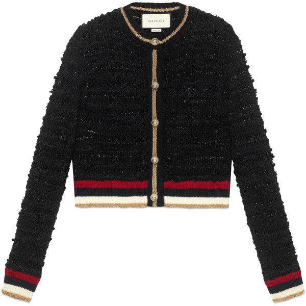 Gucci Knitted Cardigan With Web (28.494.555 VND) ❤ liked on Polyvore featuring tops, cardigans, ready-to-wear, women, crewneck cardigan, gucci top, crew neck tops, crew neck cardigan and gucci cardigan