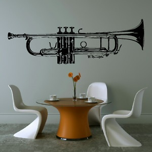 Do you think mark would like it?  (HUGE TRUMPET MUSIC WALL ART GRAPHIC STICKER TUNING giant stencil vinyl mural MU3 | eBay)