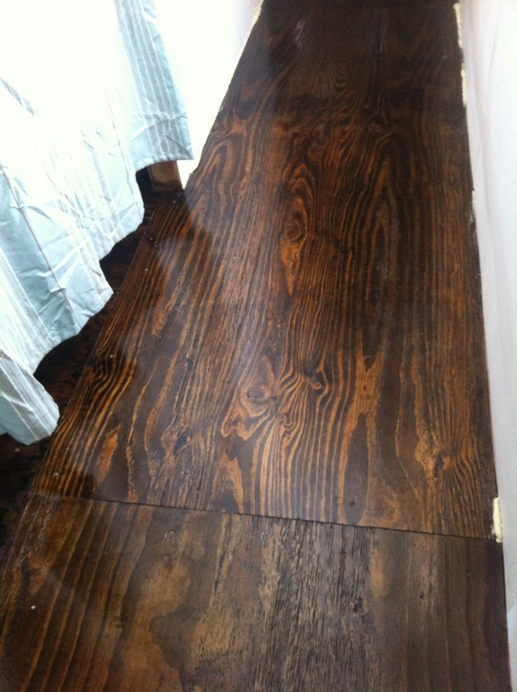 Stained plywood floor! We remodeled an old trailer house. The floors were partially redone already, and we originally planned to use laminate flooring. Then we got the idea to use plywood. We sanded it ourselves and stained it with a dark walnut stain. Finishing with a coat of poly urethane, it looks beautiful!