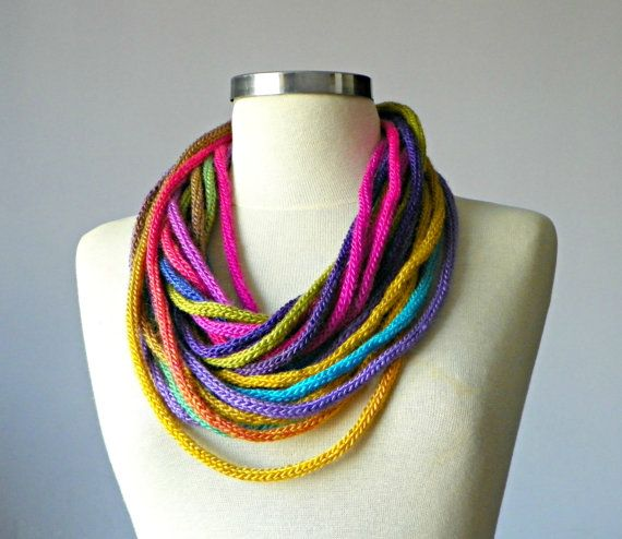 French Knit tube Infinity scarf fiber necklace colorful by yarnisland, $22.00