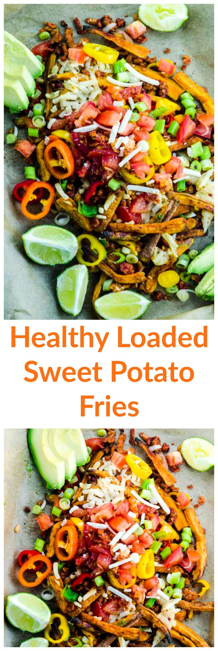 These Healthy Loaded Sweet Potato  Fries are delicious way to indulge responsibly on game day, or next time you're entertaining!
