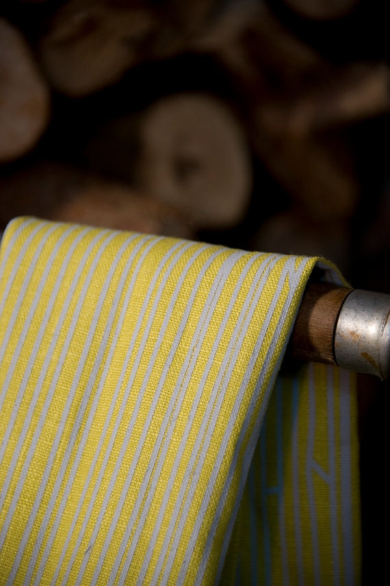 One 100 Linen Tea Towel in BAMBOO print Burned by LEMPIDESIGN, $26.00
