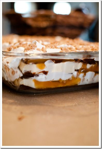 ICE CREAM SANDWICH CASSEROLE  Had this tonight for the first time with crushed butterfingers.  It was amazing!