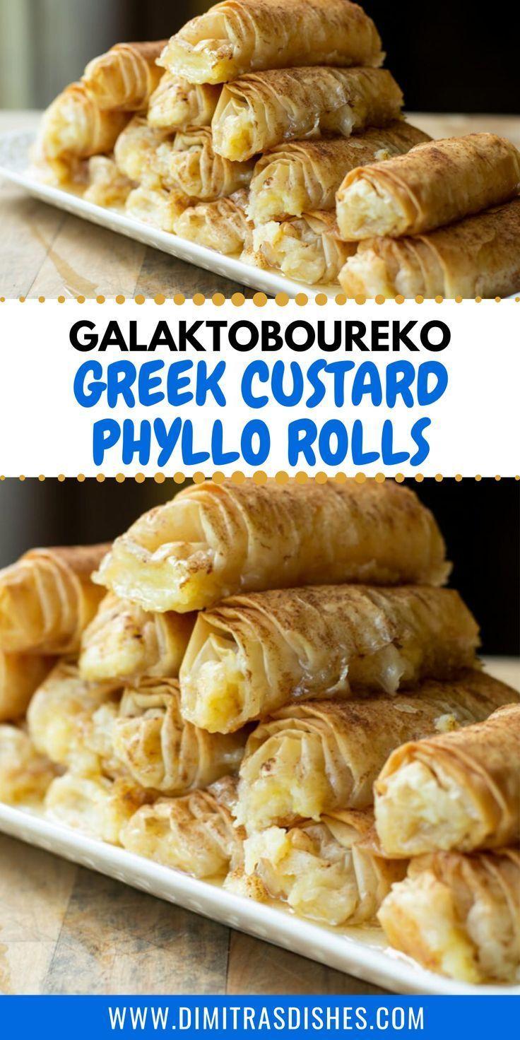 Galaktoboureko Rolls Greek Custard Phyllo Rolls Recipe Phyllo Recipes Greek Desserts Phyllo