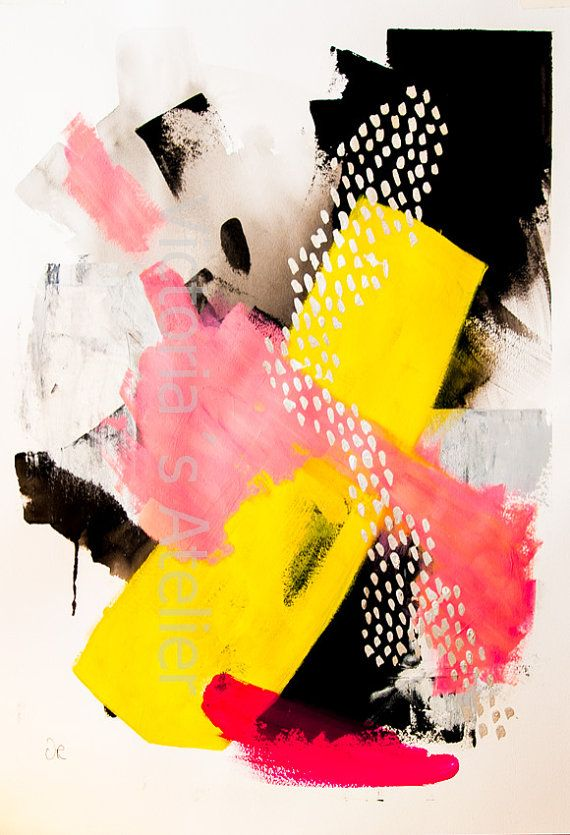 Abstract painting , mixed media, original painting on paper 19.6 x 27.5 inches…