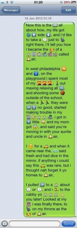 emoji Messages Texts | Bell Air text message using Emoji on LOL Wall, by Tere Fere