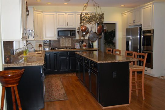 kitchen white upper cabinets dark lower black lower cabinets and black island with white 22186
