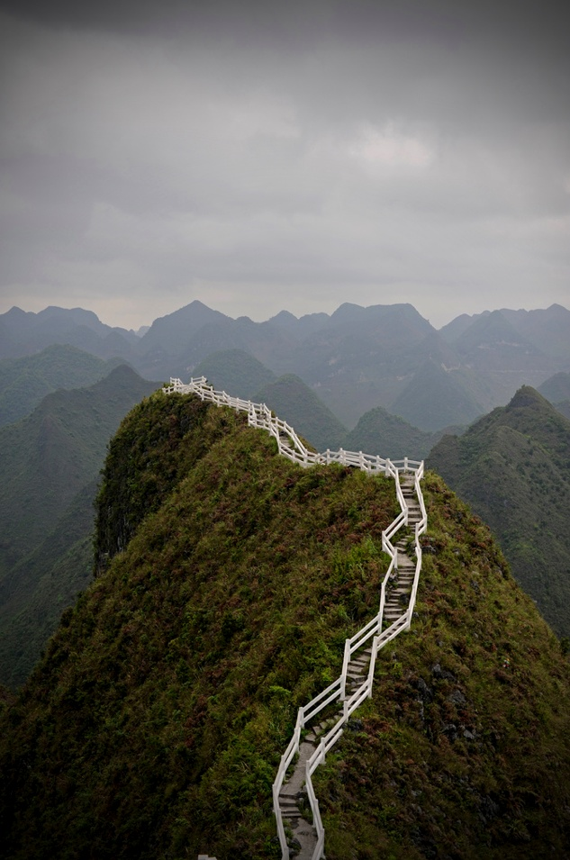 Stairway in Guangxi, China.  I wonder how long this stairway is?