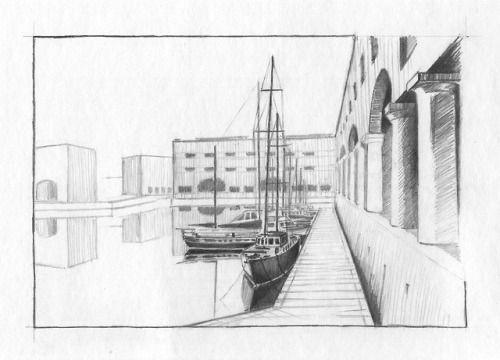 February 25, 2018. Sketching exercise from ArtTutor.com (Phil Davies - Docks). Pencils.