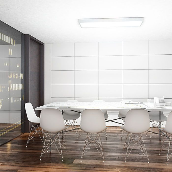 STRUCTURAL SURFACE MOUNTED 120X30 | rendl light studio | Rectangular ceiling light for fluorescent tubes. Sleek design with an aluminum frame and an opal PMMA diffuser. #lamps #office #ceiling