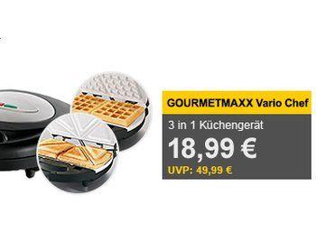 """Allyouneed: Gourmetmaxx Vario Chef 3-in-1 als B-Ware für 18,99 Euro http://www.discountfan.de/artikel/technik_und_haushalt/allyouneed-gourmetmaxx-vario-chef-3-in-1-als-b-ware-fuer-18-99-euro.php Mit dem """"gourmetmaxx Vario Chef"""" ist bei Allyouneed jetzt ein 3-in-1-Küchengerät (Waffeleisen, Grill und Sandwichmaker) für als B-Ware für 18,99 Euro frei Haus zu haben. Allyouneed: Gourmetmaxx Vario Chef 3-in-1 als B-Ware für 18,99 Euro (Bild: Allyouneed.com) Der"""