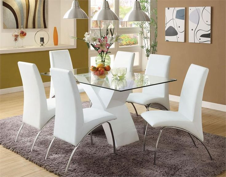 """59"""" Glass White Table   Chrome Metal White Dining Table Set for 6"""