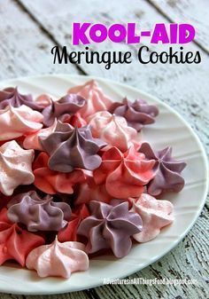 Adventures in all things food: Kool-Aid Meringue Cookie recipe. So easy and fun to use the liquid concentrate in place of flavoring and coloring.