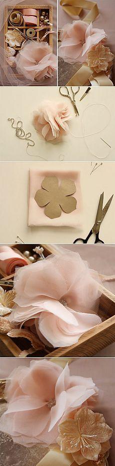 Цветы из шифона и тюля своими руками