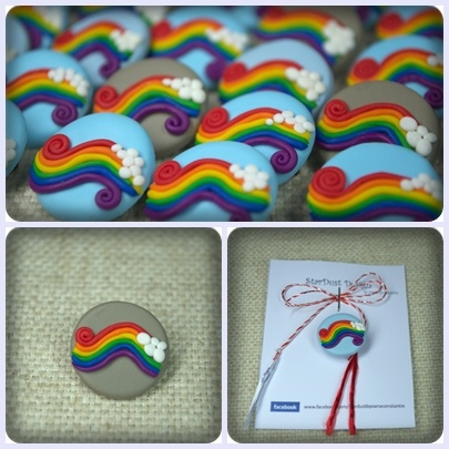 Happy rainbow ♥ - polymer clay brooch, polymer clay rainbow