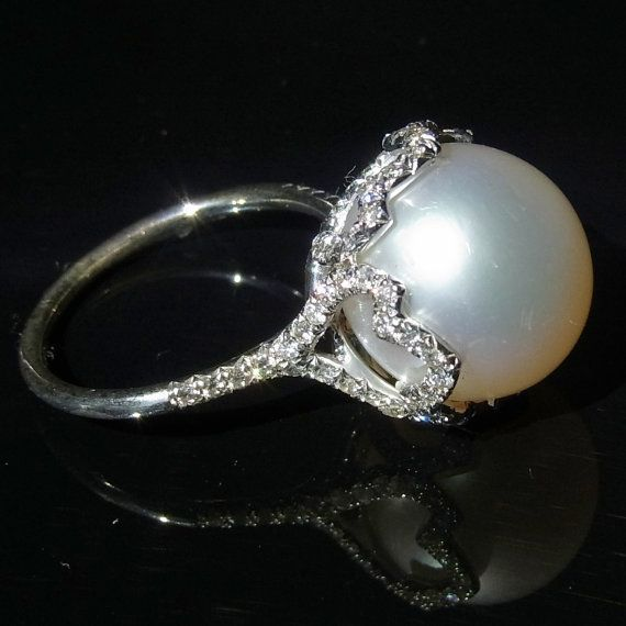 Stunning Large South Sea Pearl Ring 13mm Figural 14K by gemson47, $2699.00