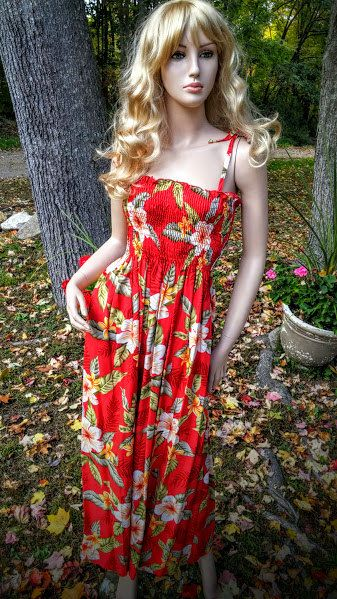 Red Orchid Hawaiin Long Elastic Tube Smocked Dress by FashNerds