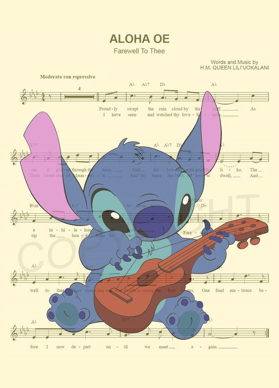 Here is a sheet music art print of Stitch from Disneys Lilo and Stitch playing a ukulele. This is perfect for any Stitch/Disney fanatic! We print this on quality ivory card stock paper, which measures approximately 8.5x11, and ship it in a durable envelope to ensure it arrives intact. FRAME NOT INCLUDED. 11x17 Poster: $20.00 18x24 Poster: $30.00 24x36 Poster: $45.00 Take advantage of our Buy 2 Prints, Get 1 Free special! Simply purchase any two prints in our shop, and let us know in a not...