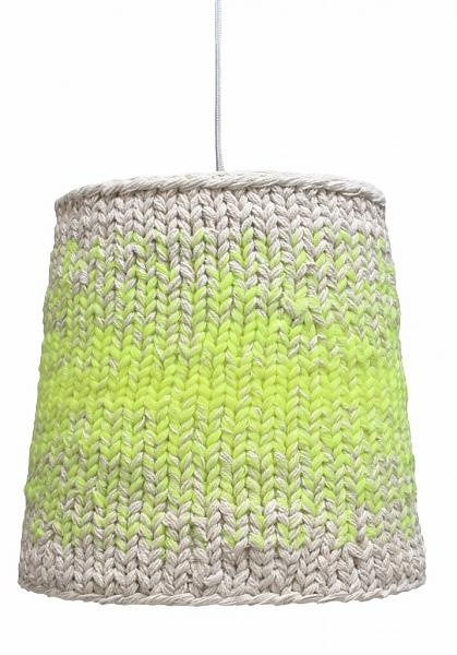 HK-living Lampenkap neon groen/wit gebreid textiel 34 cm