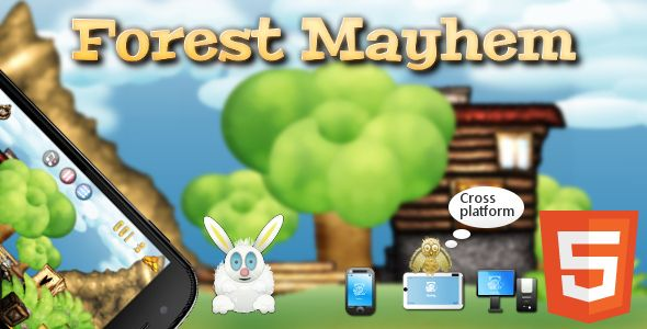 Forest Mayhem - little arcade shooter for kids. Compatible with mobile devices.