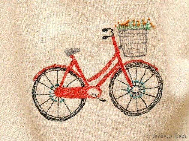 Sketchy Retro Bicycle Dishtowel » Flamingo Toes