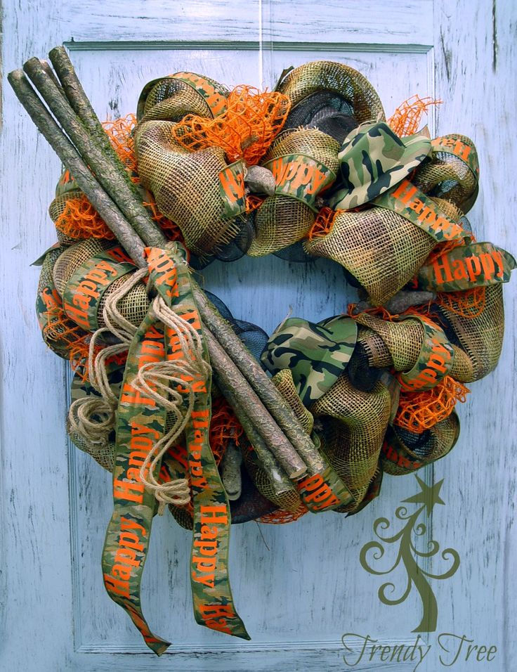 DIY Camo Wreath Tutorial - Trendy Tree Blog  Camo Ribbon with Happy Happy Happy, camo hats and duck call ornaments  #TrendyTree