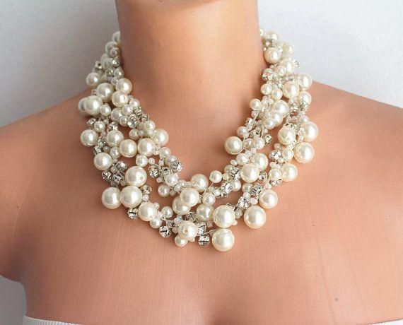 Ivory Pearls and rhinestones Wedding Crocheted Statement Necklaces #wedding #necklace #pearls