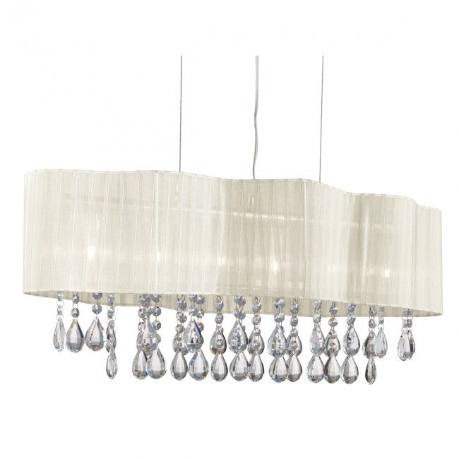 Pleated Chrome 6 Light Ceiling Fitting With Cream Shade & Crystal Drops
