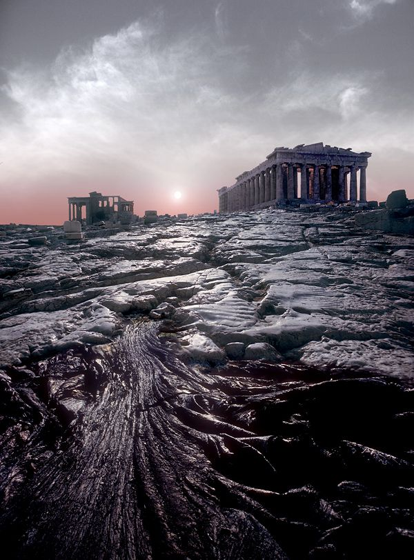 Parthenon, Athens. Yes, those rocks are slippery.