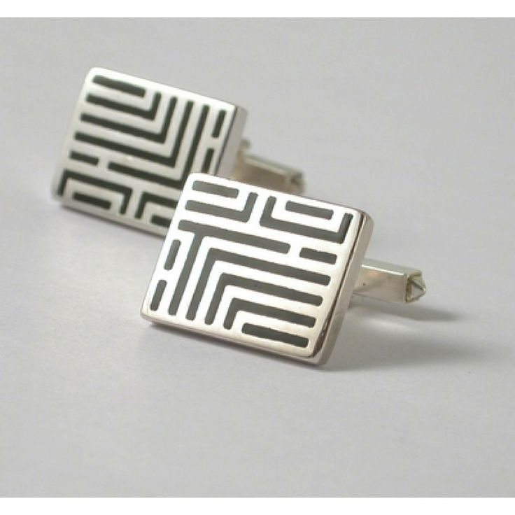 Silver Resin Graphic Cuff Link - Coté Mecs
