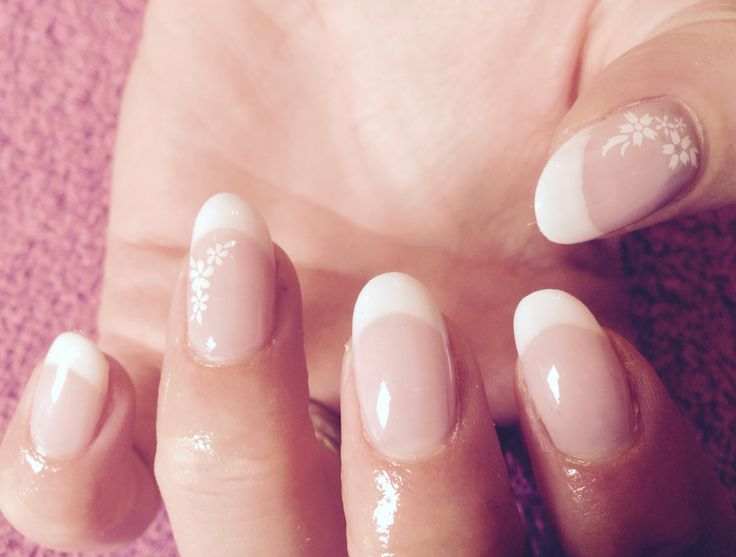French bio gel overlays. Like this oval shape